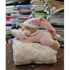 Set Orsetto Peluche e copertina in lana col. Rosa