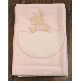 Copertina da lettino con Coniglietto - col. Rosa