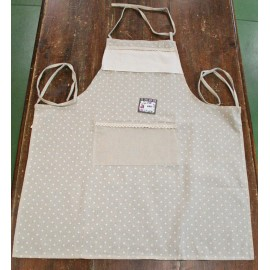 Apron bib polka dots with. ecru