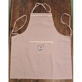 Apron bib polka dots with. antique pink