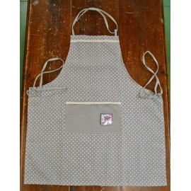 Apron bib polka dots with. grey