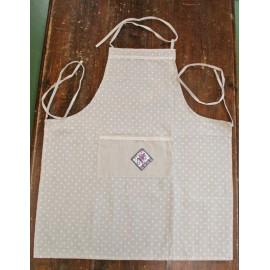 Apron bib polka dots with.ecru
