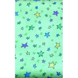 Fabric flannel col. Green with stars