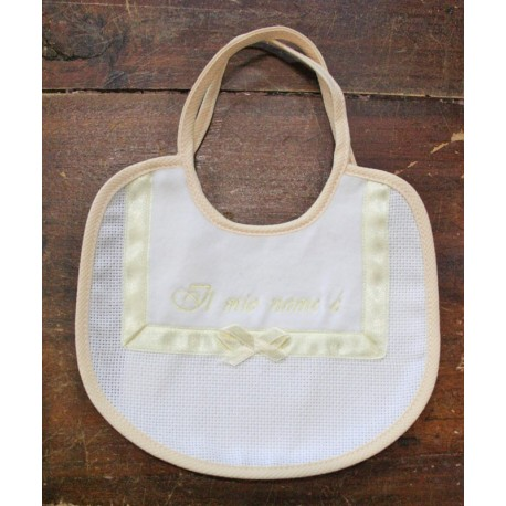 Bib baby with. White and yellow