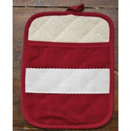 Pot holder rectangular with. bordeaux
