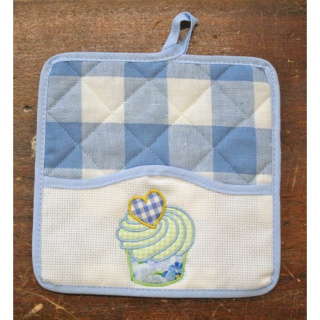 Pair of pot holders with. Blue and white