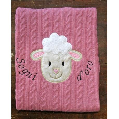 Coperta tessuto di maglia col. Rosa