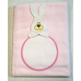 The cover from the bed in fleece with. Pink with rabbit