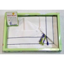 Layette baby cot 3 pcs with. White and blue