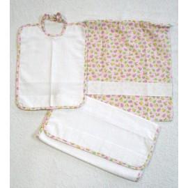 Set asilo 3 pz col. Bianco e Rosa con paperelle