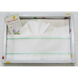 Layette baby cot 3 pcs with. White and green water