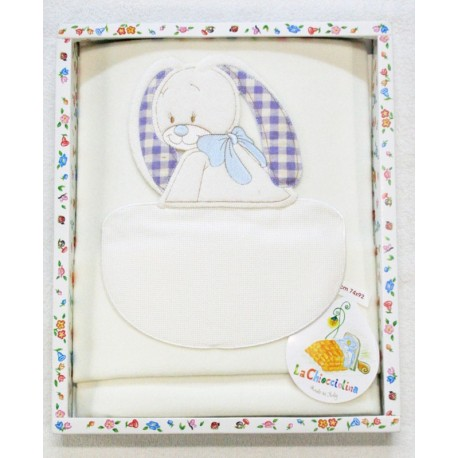 Cover the cradle with. Cream with blue bunny