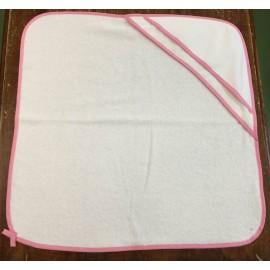 Accappatoio neonato col. Bianco con rifiniture rosa