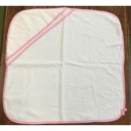 Accappatoio neonato col. Bianco con bordino rosa