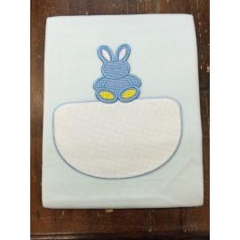 Copertina culla con coniglietto azzurro