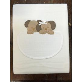 Copertina culla con cagnolini panna
