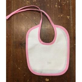Bavaglina neonato in tela aida e sbieco rosa