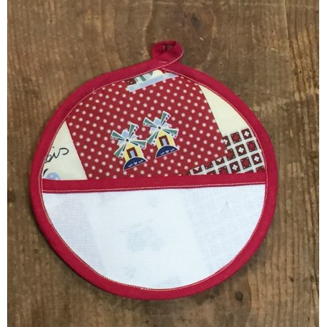 Pot holder round with. red fantasy