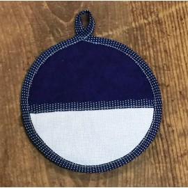 Pot holder, round - solid blue color