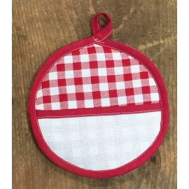 Pot holder round with. red squares