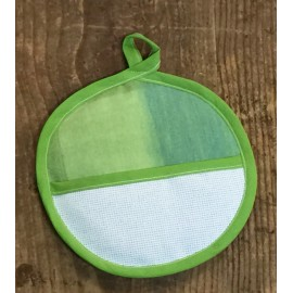 Pot holder, round - green