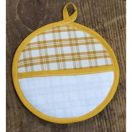 Pot holder round scottish yellow