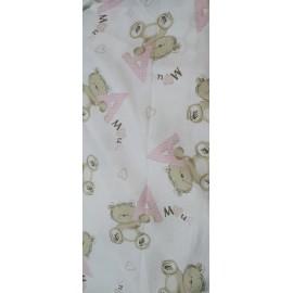 Tessuto americano bianco con orsetti rosa