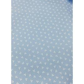 Tessuto americano di piquet azzurro con fiorellini