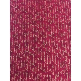 Tessuto americano rosso con scritte oro