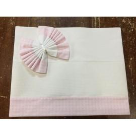 Lenzuolino culla 5616 - bianco e rosa a quadretti