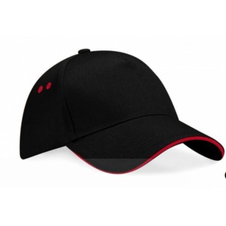 Cappellino con visiera nero e rosso regolabile