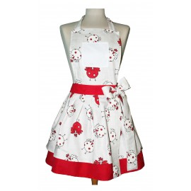 Apron bib vintage with. Red