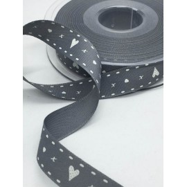 Tape with print hearts with. Grey - 'The Tapes Mirta'