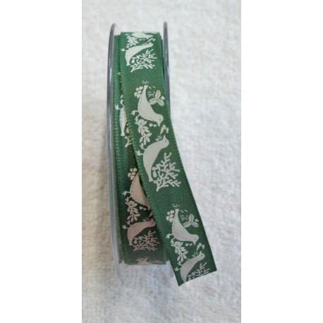 Nastro con stampa uccelli col. Verde e bianco - 'I Nastri di Mirta'