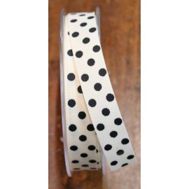 Ribbon with polka dot print col. Black and ivory - 'The Tapes Mirta'