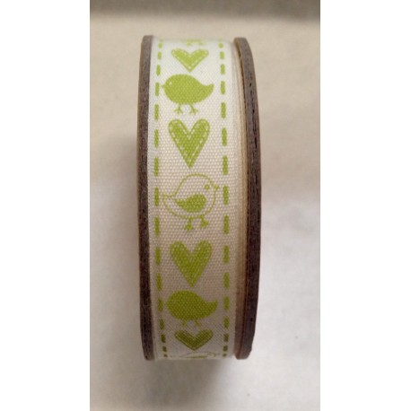 Tape roll with print in Birds/Hearts Green