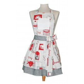 Apron bib-grey and red