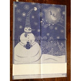 Cloth Snowman and Bird with. Blue