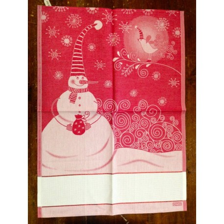 Cloth Snowman and Bird with. Red