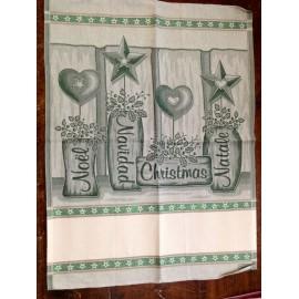 Strofinaccio Vasi con cuori e stelle col. Verde