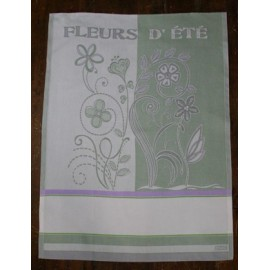 Cloth Fleurs d' été with. Lilac and Green