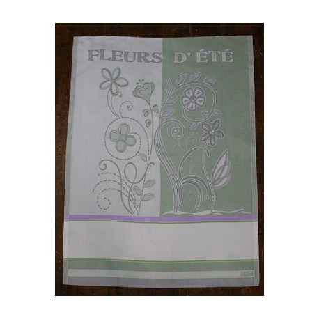 Cloth Fleurs d'été with. Lilac and Green