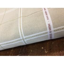 Misto lino quadrettato corda bianco e oro
