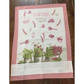 Strofinaccio Lavanda e fiori rosa antico