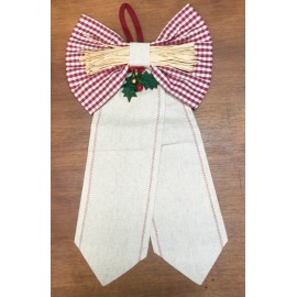 Bow with galle in the aida fabric linen fabric gingham check burgundy