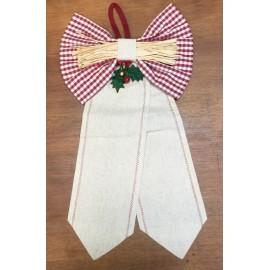 Fiocco con galle in tela aida di lino e tessuto quadretti bordeaux