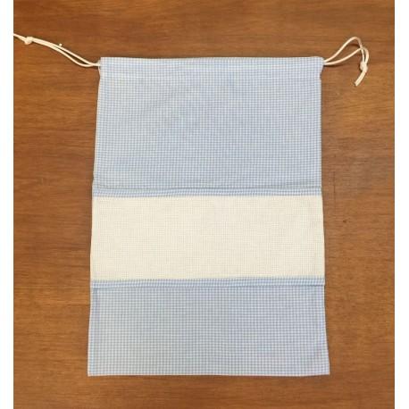 Sacchetto asilo col. azzurro quadrettato