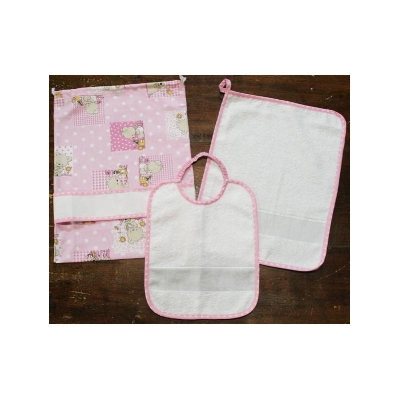 Sacchetto asilo//nascita fantasia orso con tela aida rosa//azzurro Made in Italy