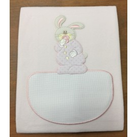 Cover cot fleece with. pink with bunny