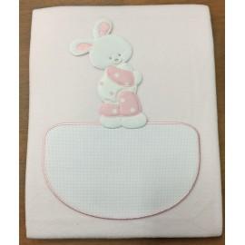 Copertina culla pile col. rosa con coniglietto a pois